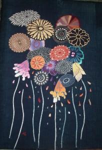 古布で描いた花火