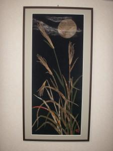 古布で描いた名月とススキ